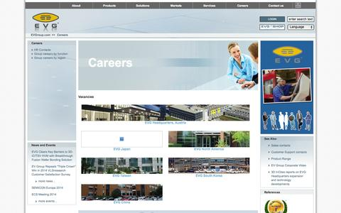 Screenshot of Jobs Page evgroup.com - EVG|Careers - captured Oct. 1, 2014