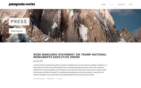 Screenshot of Press Page patagoniaworks.com - Press — Patagonia Works - captured May 15, 2017