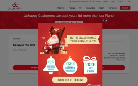 Screenshot of Pricing Page getcloudcherry.com - Feedback & Customer Experience Survey Software Pricing - captured Dec. 29, 2016