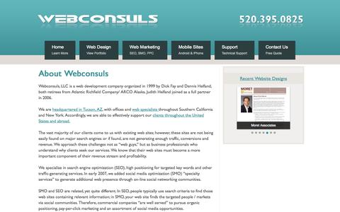 Screenshot of About Page webconsuls.com - About Webconsuls | Web Presence Marketing Philosophy | Marketing Activities - captured Oct. 7, 2014