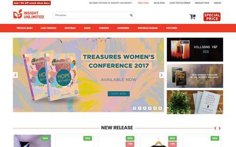 Screenshot of Home Page insight-unlimited.com - Toko Rohani Kristen Online Terlengkap di Jakarta | INSIGHT UNLIMITED - captured Sept. 26, 2018