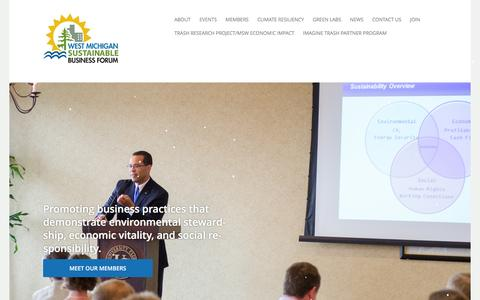 Screenshot of Home Page wmsbf.org - West Michigan Sustainable Business Forum - captured Dec. 15, 2016