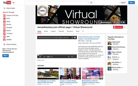 Screenshot of YouTube Page youtube.com - venuedirectory.com official page + Virtual Showround  - YouTube - captured Oct. 26, 2014