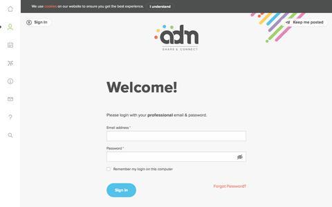 Screenshot of Login Page adm.be - Log in - ADM - captured Oct. 6, 2017