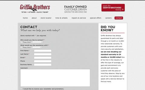 Screenshot of Contact Page griffinbrothers.com - Contact | Griffin Brothers - captured Oct. 3, 2014