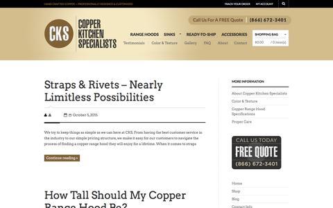 Screenshot of Blog copperhoods.com - Copper Kitchen Hoods, Custom Copper Range Hoods Kitchen, Copper Hoods - captured Jan. 31, 2016