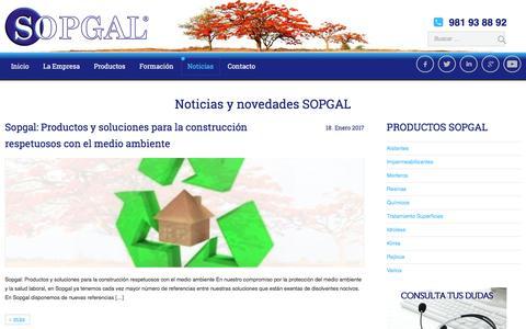 Screenshot of Blog sopgal.es - Noticias Sopgal: tu proveedor de soluciones y materiales para la construcción, reformas y rehabilitación - captured May 26, 2017