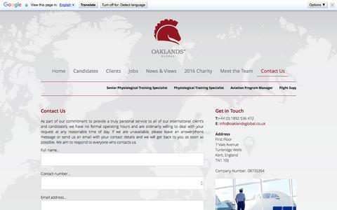 Screenshot of Contact Page oaklandsglobal.co.uk - Contact Us | Aerospace & Aviation Recruitment - captured Dec. 2, 2016