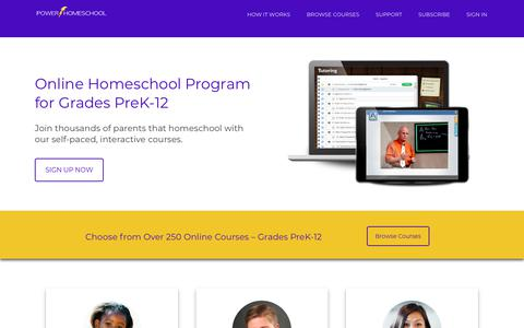 Screenshot of Home Page Terms Page powerhomeschool.org - Online Homeschool Program (PreK-12) | Power Homeschool - captured May 3, 2018