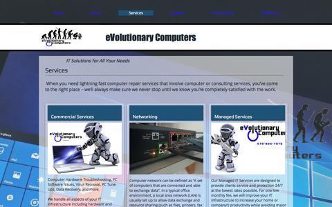 Screenshot of Services Page evolutionarycomputers.com - Customized IT Services | Evolutionary Computers| NEPA - captured July 22, 2018