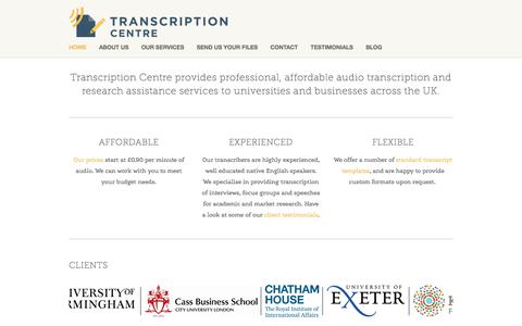 Screenshot of Home Page transcriptioncentre.co.uk - Transcription Services UK | Transcription Centre - captured June 19, 2017