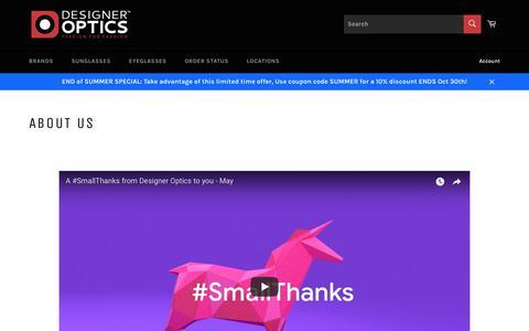 Screenshot of About Page designeroptics.com - About us – designeroptics.com - captured Oct. 9, 2018