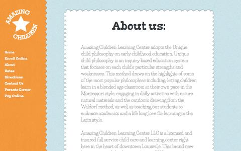 Screenshot of About Page amazingchildcare.com - About- Amazing Children Learning & Childcare - Daycare Louisville - captured Oct. 2, 2014