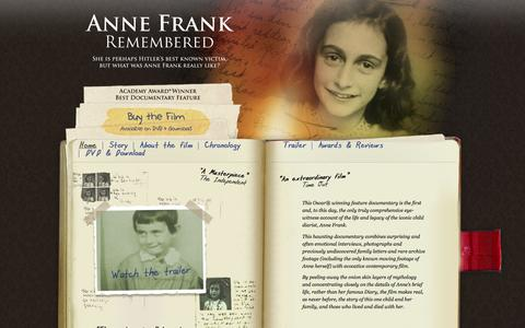 Screenshot of Home Page annefrankremembered.co.uk - Anne Frank Remembered :: Home - captured June 23, 2016