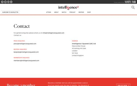 Screenshot of Contact Page intelligencesquared.com - Contact - Intelligence Squared - captured Feb. 10, 2019
