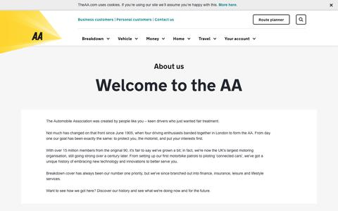 Screenshot of About Page theaa.com - About Us | AA - captured Aug. 24, 2017