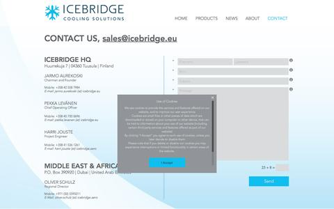 Screenshot of Contact Page icebridge.eu - Cooling solution for onboard catering | CONTACT - captured Nov. 25, 2016
