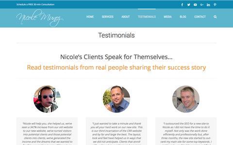 Screenshot of Testimonials Page nicolemunoz.com - Nicole Munoz | Client Testimonials - captured Nov. 28, 2016