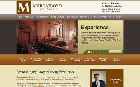 Screenshot of Home Page murgatroydlaw.com - Flemington Personal Injury Attorney | Hunterdon County Injury Lawyer - captured Oct. 1, 2014