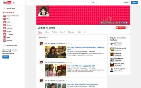 Screenshot of YouTube Page youtube.com - Jodi R. R. Smith  - YouTube - captured Oct. 25, 2014