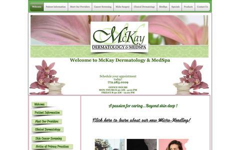 Screenshot of Home Page mckayderm.com - McKay Dermatology and Medspa - captured Oct. 17, 2018