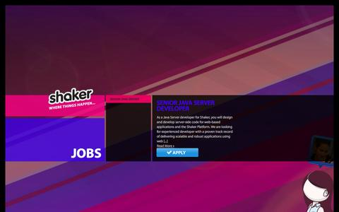 Screenshot of Jobs Page atshaker.com - Shaker Jobs - captured Feb. 21, 2016