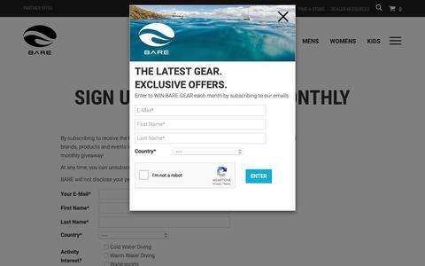 Screenshot of Signup Page baresports.com - NEWSLETTER - captured Oct. 1, 2018
