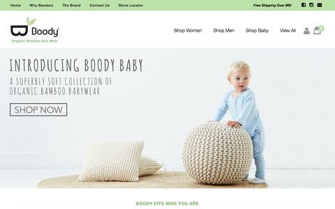 Screenshot of Home Page boody.com.au - Organic Bamboo Eco Wear – Boody Australia - captured Feb. 7, 2016