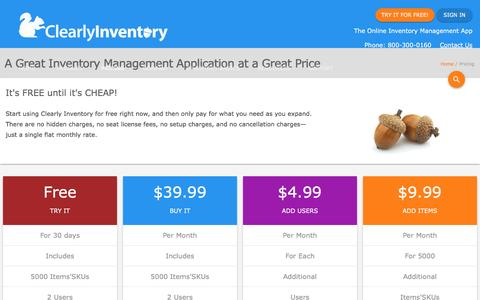 Screenshot of Pricing Page clearlyinventory.com - Pricing for Clearly Inventory Web Based Inventory Management Software. - captured May 18, 2017