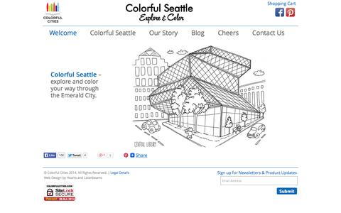 Screenshot of Home Page colorfulcities.com - Welcome - Colorful Seattle Coloring Book Available Now! - captured Oct. 8, 2014