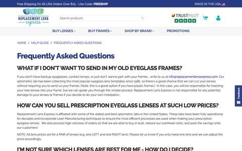 Screenshot of FAQ Page replacementlensexpress.com - FAQ - captured Nov. 4, 2018