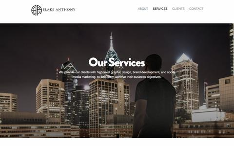 Screenshot of Services Page blakeanthonygroup.com - SERVICES  |   Blake Anthony Group - captured March 4, 2016