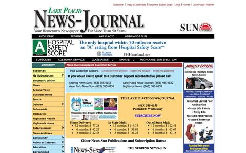 Screenshot of Support Page lakeplacidnewsjournal.com - Sun Newspapers Customer Service - captured March 15, 2016