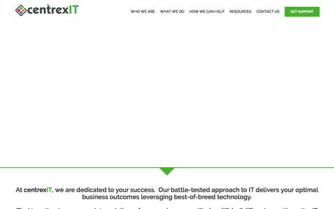 Screenshot of Home Page centrexit.com - San Diego's Leader in IT Management and IT Consulting - centrexIT - captured March 17, 2016