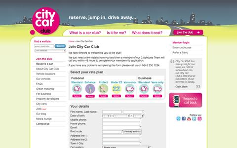 Screenshot of Signup Page citycarclub.co.uk - Join City Car Club - captured Oct. 28, 2014