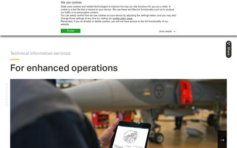 Screenshot of Support Page saab.com - Technical Information Services | For enhanced operations | Saab - captured Jan. 29, 2019