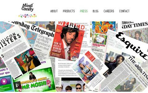 Screenshot of Press Page mindcandy.com - Mind Candy - captured July 20, 2014