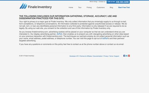 Screenshot of Privacy Page finaleinventory.com - Finale Inventory Privacy Policy - captured Sept. 23, 2014