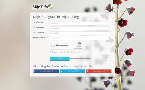 Screenshot of Signup Page mijntuin.org - Registreer je gratis | MijnTuin.org - captured Aug. 24, 2016