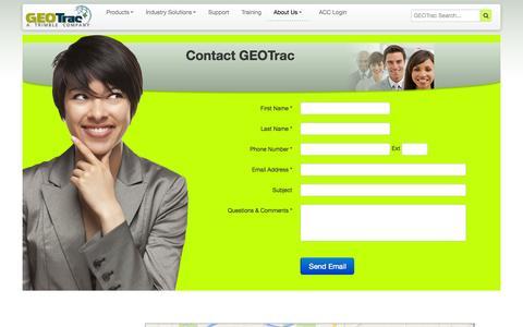 Screenshot of Contact Page geotracinternational.com captured Sept. 26, 2014