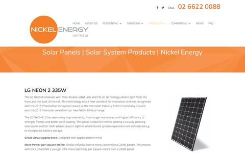 Screenshot of Products Page nickelenergy.com.au - Solar System Products | Nickel Energy | Solar System Installers - captured Sept. 21, 2018