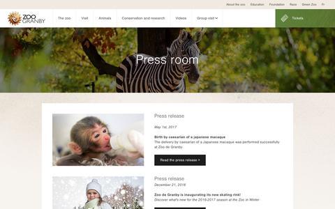 Screenshot of Press Page zoodegranby.com - Press room - Zoo de Granby - captured Sept. 6, 2017