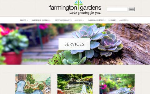 Screenshot of Services Page farmingtongardens.com - Services - Farmington Gardens - captured June 5, 2017