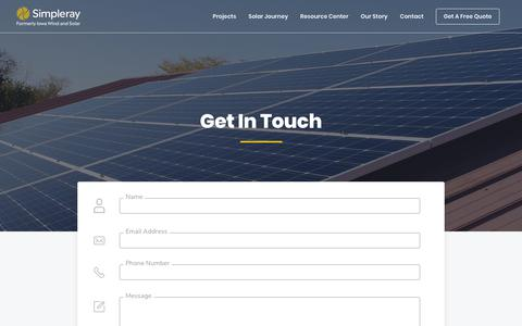 Screenshot of Contact Page simpleray.com - Simpleray – Solar Made Simple - captured Jan. 19, 2019