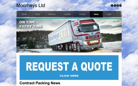 Screenshot of Press Page moorheys.co.uk - MOORHEYS   News   Contract Packing Solutions   Whats happening   Co Packers - Moorheys Ltd - captured Jan. 10, 2016
