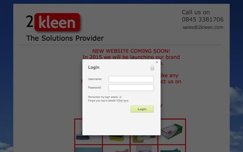 Screenshot of Home Page 2kleen.com - New website - 2kleen - captured Oct. 5, 2015