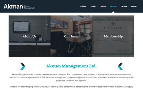 Screenshot of Services Page akmanmanagement.ca - Services - Akman Property Management - captured July 29, 2018