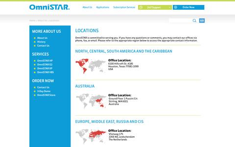 Screenshot of Locations Page omnistar.com - OmniSTAR > About Us > Locations - captured Nov. 8, 2018