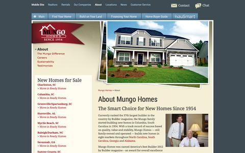 Screenshot of About Page mungo.com - About Mungo Homes - captured Sept. 18, 2014