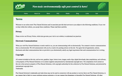 Screenshot of Terms Page aplusnaturalenzymes.com - Terms   A Plus Natural Enzymes - captured Nov. 2, 2014